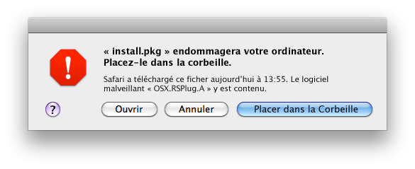 Alerte Virus Mac - XProtect