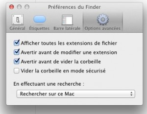 Finder - Afficher les extensions de fichier