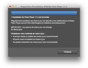 Mise-à-jour Flash Player Mac